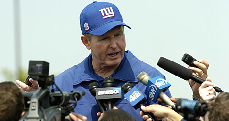 Giants coach Tom Coughlin talks to reporters during rookie mini-camp on May 12. Coughlin enters the 2007-08 season with his job in jeopardy even though he has guided New York to consecutive playoff berths for the first time since 1989-90.