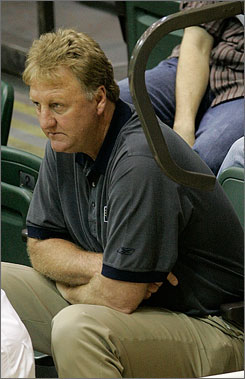 Pacers president Larry Bird watches a game at the NBA's predraft camp May 30 in Lake Buena Vista, Fla.