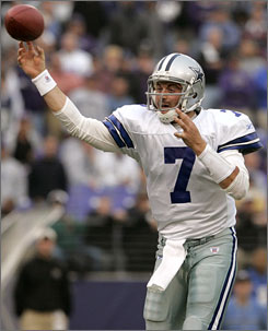 Drew Henson throws his first and only career touchdown pass in a Nov. 2004 game against the Baltimore Ravens. During the course of two seasons with the Dallas Cowboys, Henson started one game and threw just 18 passes.
