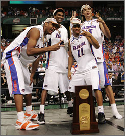 From left, Al Horford, Corey Brewer, Taurean Green and Joakim Noah led the Florida Gators to two straight national championships. Now the quartet hopes to make waves in the first round of this year's NBA draft.