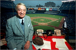 "From his broadcast booth in Yankee Stadium, Mel Allen became one of the giants in sports broadcasting history. He was introduced to a new generation of baseball fans in the late 1970s as the narrator for ""This Week in Baseball."""