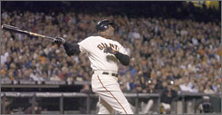 Barry Bonds watches No. 750 leave AT&T Park, leaving him six home runs from breaking Hank Aaron's record.