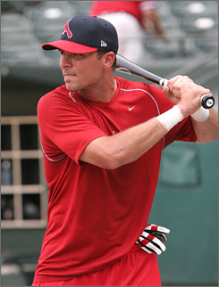 Rick Ankiel, currently playing for the Triple-A Memphis Redbirds, takes batting practice before a game against Round Rock. The former St. Louis Cardinals pitcher is an outfielder now and is tied for the Pacific Coast League lead with 22 home runs.