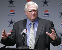 Wade Phillips speaks at the Feb. 8 news conference announcing his appointment as head coach of the Cowboys. Phillips, previously a head coach in Denver and Buffalo, and most recently San Diego's defensive coordinator, inherits a Dallas team that already has many pieces to the puzzle.