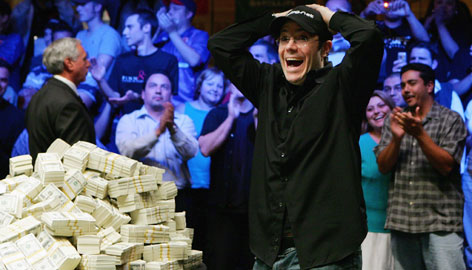 Jamie Gold is in shock after winning last year's World Series of Poker no-limit Texas Hold'em main event in Las Vegas. Gold likes to dress casual when he plays, usually wearing a hat, shirt, jeans and a comfortable pair of sneakers.