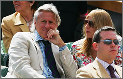 Bjorn Borg looks on as he watches the men's semifinal match between Roger Federer and Richard Gasquet at Wimbledon.