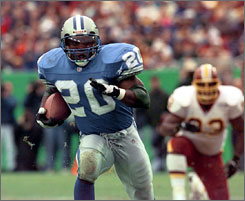 Barry Sanders retired after 10 seasons when he was just 1,457 yards from breaking Walter Payton's all-time rushing record.