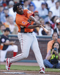 Vladimir Guerrero of the Angels won baseball's All-Star Home Run Derby with a powerful display in San Francisco.
