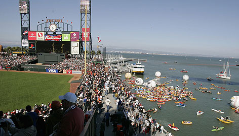 McCovey Cove and the right-field wall at AT&T Park. Through the All-Star break, 44 Splash Hits - 34 by Barry Bonds - have carried to the water. In this shot, fans in kayaks and other craft jockey for position before the All-Star Home Run Derby.