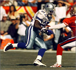 Emmitt Smith was the first player to rush for 1,000 yards in 11 consecutive seasons.