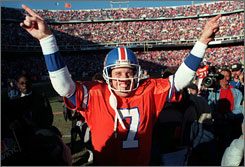 John Elway won more games than any other quarterback during his 16-year career with the Denver Broncos.
