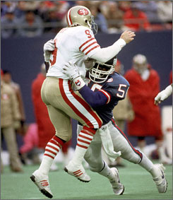 Lawrence Taylor became a menace to quarterbacks during his 13-year career with the Giants.