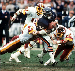 Walter Payton owned the NFL career rushing record when he retired after the 1987 season.