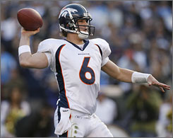 """Denver quarterback Jay Cutler begins his first full season as the starter for the Broncos. """"This is a growing process, and he is maturing by working extremely hard,"""" says his coach, Mike Shanahan."""
