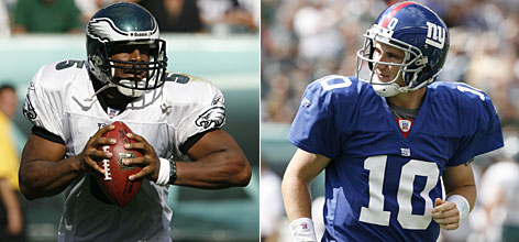 Philadelphia's Donovan McNabb, left, and the New York Giants' Eli Manning are two high-profile quarterbacks expected to deliver big rewards this season. McNabb returns to an Eagles squad that made a quarterback (Kevin Kolb) its first draft pick this year, and Manning to a franchise anxiously waiting for him to be more consistent.