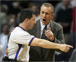 The  betting scandal involving ex-NBA referee Tim Donaghy, seen here trying to direct an agitated Pat Riley during a March 2006 game,  has brought out criticism toward the NBA's system that oversees officiating.