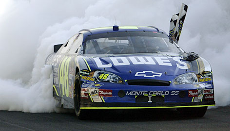 Jimmie Johnson took the checkered flag at the Brickyard in 2006 on his way to his first Nextel Cup championship.