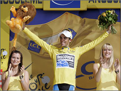 Alberto Contador finished behind teammate Levi Leipheimer, but still kept the leader's yellow jersey.