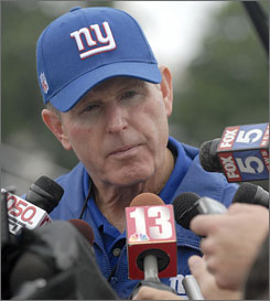 """It's not an issue."" That was Tom Coughlin's official statement when asked about star defensive end Michael Strahan's absence from Giants training camp."