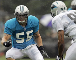 Dan Morgan was back on the field Saturday after missing the final 15 games last season. The Panthers linebacker has been sidelined due to injury in 40 of 96 games over his six-year career.