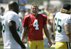 """""""I consider myself as mentally tough as anybody, but at times like this I question it,"""" Brett Favre said about the death of his wife's stepfather. """"Things like this are humbling. Sometimes we think that the only thing is our job, and then you get blindsided and wake up. It's not fun."""""""