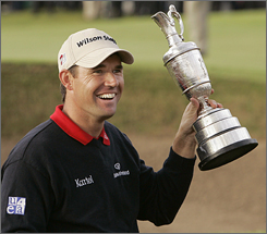 Padraig Harrington's victory at the British Open has put a much-needed boost for sporting goods company Wilson.
