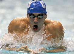 Michael Phelps swims in the preliminaries of the 200-meter breaststroke at the U.S. Nationals in Indianapolis, Tuesday,
