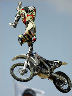 Mike Mason takes to the air during the Moto-X Freestyle final at the 2006 X Games in Carson, Calif.