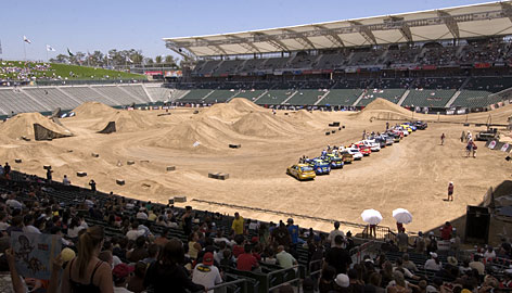 A view of the scene at the 2006 X Games opening ceremonies in Carson, Calif.