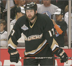 Dustin Penner, shown during this year's Stanley Cup Finals, will sport an Edmonton sweater next season after the Anaheim Ducks failed to match the Oilers' offer sheet.