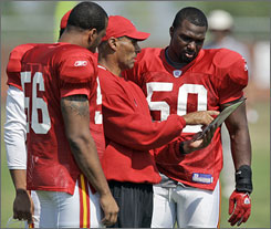 """Chiefs coach Herm Edwards is planning on elevating the importance of defense in the team's philosophy. """"For us, it's more magnified because we play outside and the weather changes in the middle of December,"""" he says. """"And the last time I checked, it's very difficult to throw the ball about 30 times when the wind is hitting you in the face and you're out there in all the elements."""""""