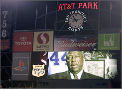A taped message from Hank Aaron was displayed on the AT&T Park scoreboard on Tuesday after Barry Bonds hit his 756th home run to surpass Aaron's record.