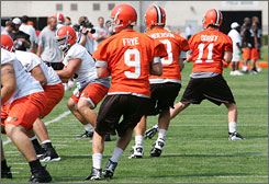 Charlie Frye and Derek Anderson are both in the running to start the Cleveland Browns' first preseason game. First-round pick Brady Quinn may still get a shot at the starting job if either of the first two falter.