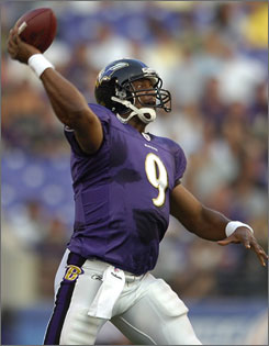 Ravens quarterback Steve McNair throws a pass during Baltimore's 29-3 preseason-opening victory over the Eagles. McNair led the Ravens on a 93-yard touchdown drive in his only series of the game.