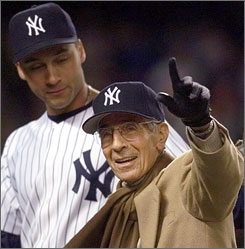 Phil Rizzuto threw out the first pitch before Game 2 of the 1999 American League Championship Series at Yankee Stadium against Boston. Shortstop Derek Jeter accompanied Rizzuto for the ceremony.