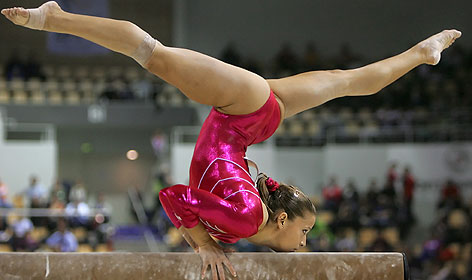 Alicia Sacramone was on the beam at a gymnastics meet in Denmark last year.