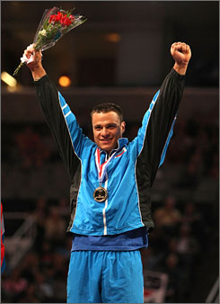 David Durante celebrates after winning the national all-around title at the U.S. gymnastics championships. Durante finished .2 ahead of silver medalist Guillermo Alvarez.