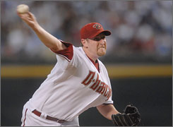 Arizona's Brandon Webb works to the Dodgers at Chase Field this season. The Milwaukee Brewers will try to halt his 42-inning scoreless streak when they visit Phoenix on Wednesday.