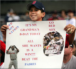 A Red Sox fan took in the Sox-Padres game at San Diego's Petco Park in June.