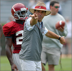 Returning to college football has put plenty of pressure on Alabama coach Nick Saban.