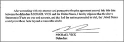Michael Vick's signature is shown on the summary of the facts document that accompanied his plea agreement filed in federal court Friday.