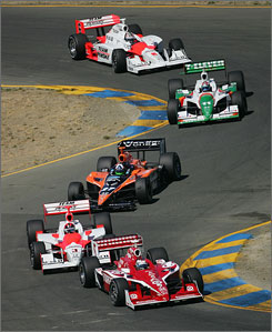 Scott Dixon sets the pace at Sonoma ahead of (in order) Helio Castroneves, Dario Franchitti, Tony Kanaan and Sam Hornish Jr.
