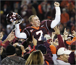 Sean Glennon and Virginia Tech fans celebrated last year after beating Clemson at Lane Stadium.
