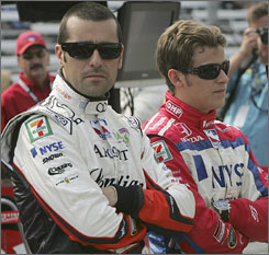 Dario Franchitti, left, and Marco Andretti locked horns and wheels at Infineon Raceway, marking the latest on-track tussle within the Andretti Green Racing stable.