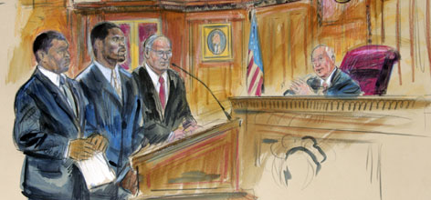 Michael Vick, center, flanked by attorneys Billy Martin, left, and Lawrence Woodward, in an artist's rendering of his appearance before Judge Henry Hudson for his guilty plea on Monday in Richmond, Va.