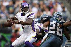 Vikings quarterback Tarvaris Jackson started the final two games of last season and enters this year as the team's first-string passer.