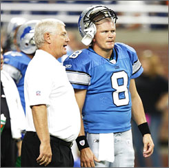 """Former Rams coach and current Lions offensive coordinator Mike Martz, left, is Kitna's tutor. Said Kitna of their relationship, """"I told him in the offseason, 'I want to be the best. I don't care what you do to get me there.' He treats me like I'm a man, and I love that."""""""