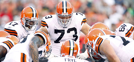 "Cleveland Browns rookie left tackle Joe Thomas (73), the third overall pick in this year's draft, could be an immediate impact player for the team.  ""When you're 31st in the NFL in rushing offense,"" general manager Phil Savage said on draft day of picking Thomas, ""a quarterback is not going to help you as much as a franchise left tackle."""