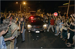 Appalachian State students celebrate as the team returns to school in Boone, N.C., after their upset of Michigan.