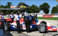 The crew prepares Darren Manning's ABC Supply Dallara/Honda for qualifying as open wheel racing returned to Belle Isle for the first time in five years. Manning recorded a season-best fourth-place finish.